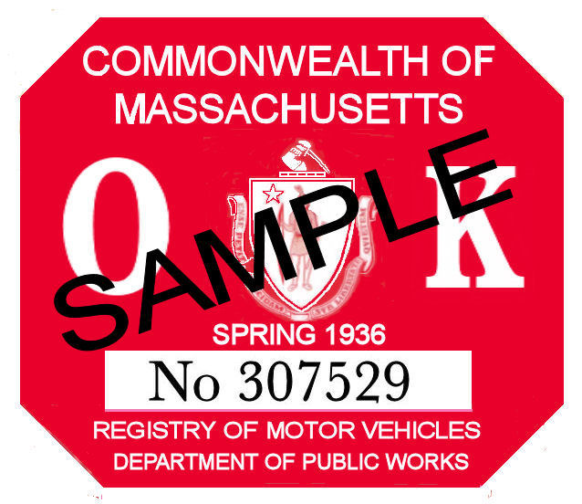 1936 Massachusetts SPRING INSPECTION Sticker
