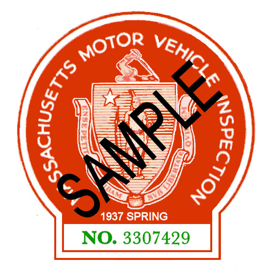 1937 Massachusetts SPRING INSPECTION sticker