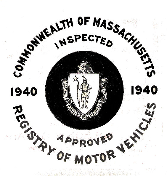 1940 Massachusetts FALL Inspection Sticker