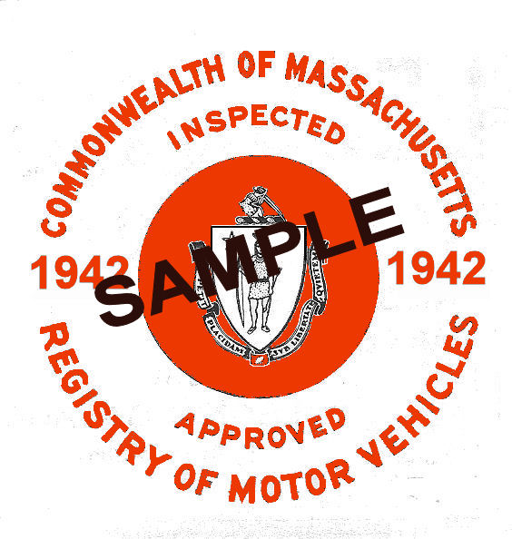 1942 Massachusetts SPRING Inspection Sticker (RED)
