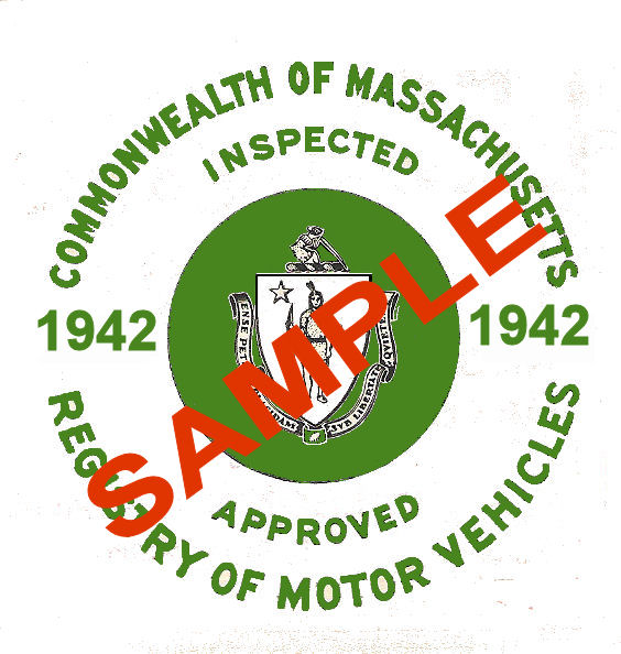1942 Massachusetts FALL INSPECTION Sticker ( GREEN)