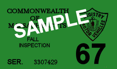 1967 Massachusetts FALL INSPECTION Sticker