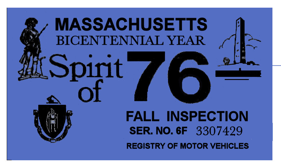 1976 Massachusetts FALL INSPECTION Sticker