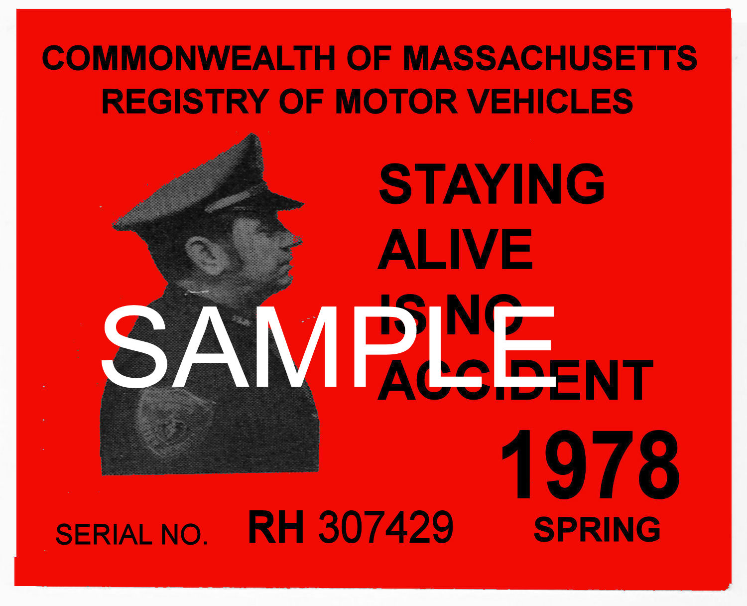 1978 Massachusetts SPRING INSPECTION Sticker