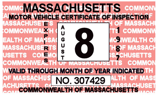 1987 Massachusetts Inspection Sticker