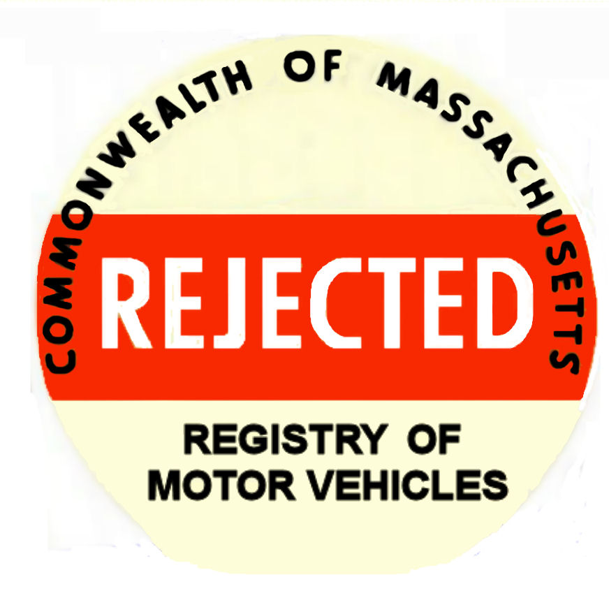 1950's Massachusetts REJECTION sticker