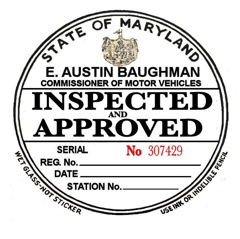 1934 Maryland Inspection Sticker