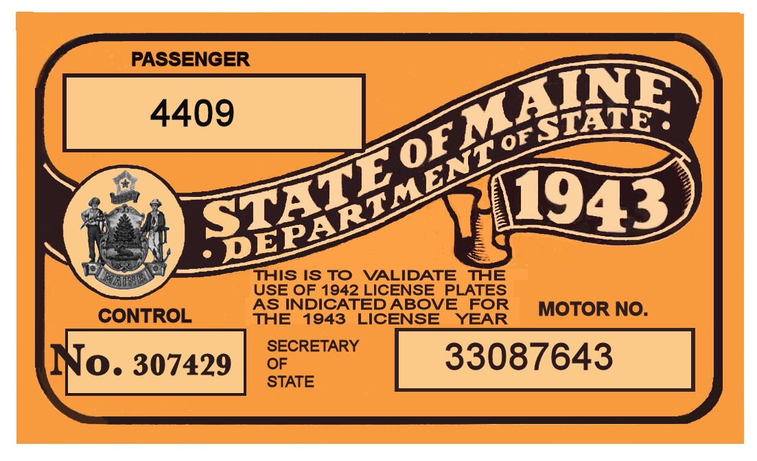 1943 Maine Registration Sticker