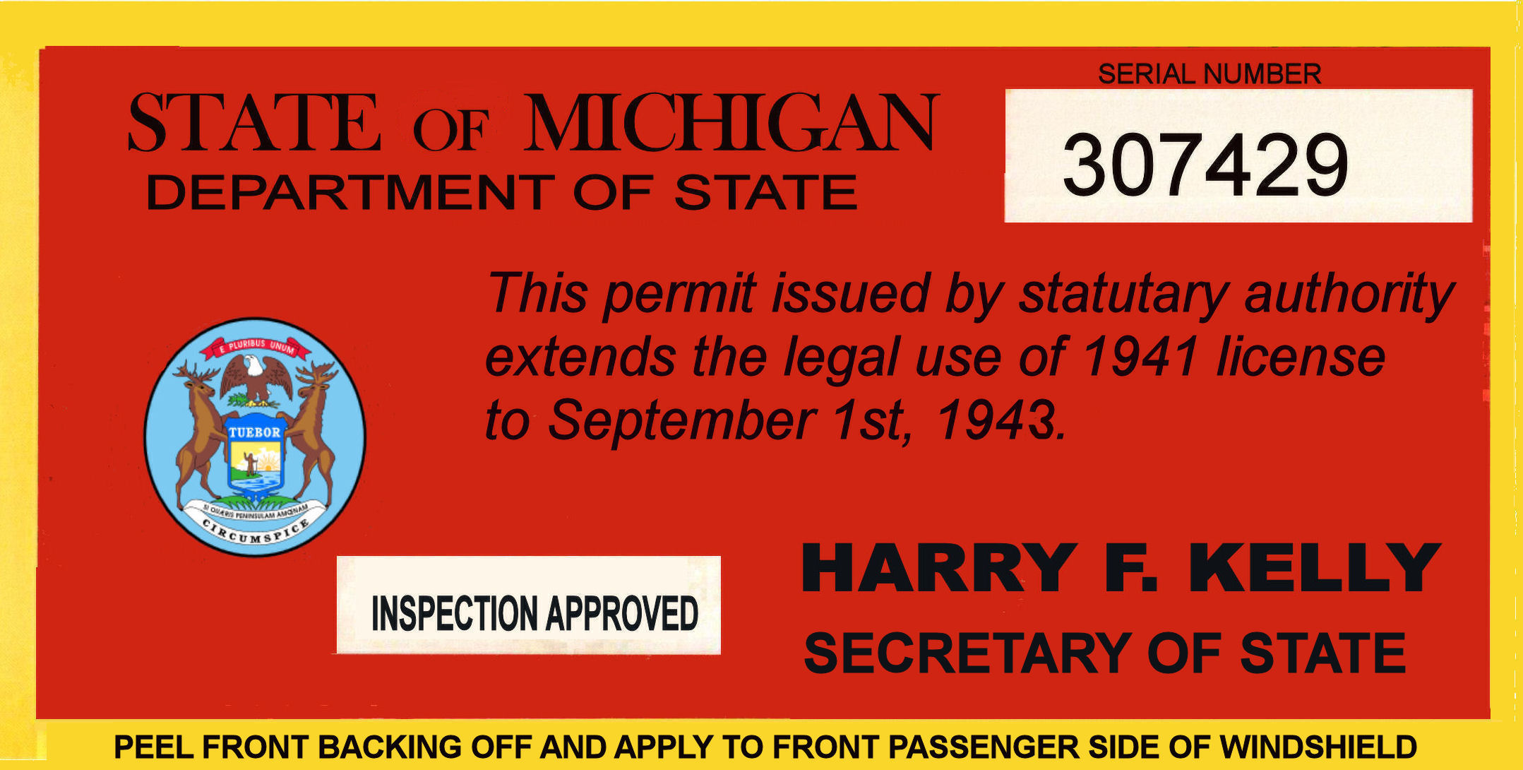 1942-43 Michigan registration Inspection