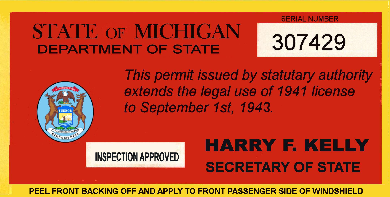 Car sticker inspection - 1941 42 Michigan Tax Inspection Sticker