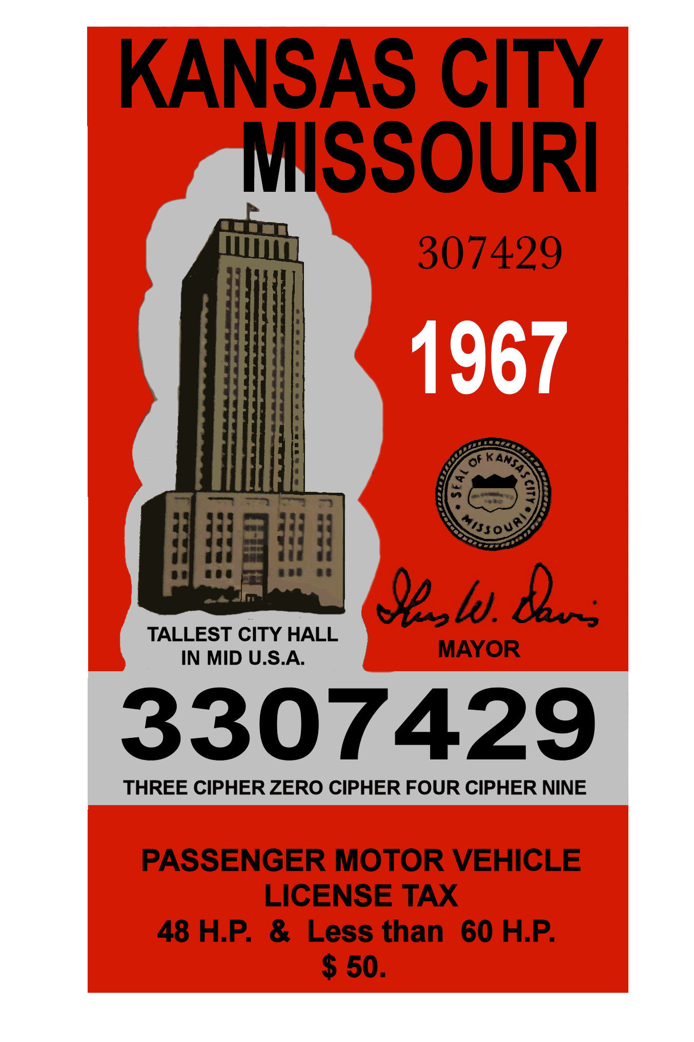1967 missouri kansas city tax inspection sticker