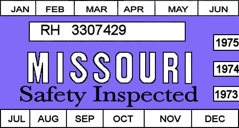 1973, 1974, 1975 Missouri INSPECTION Sticker