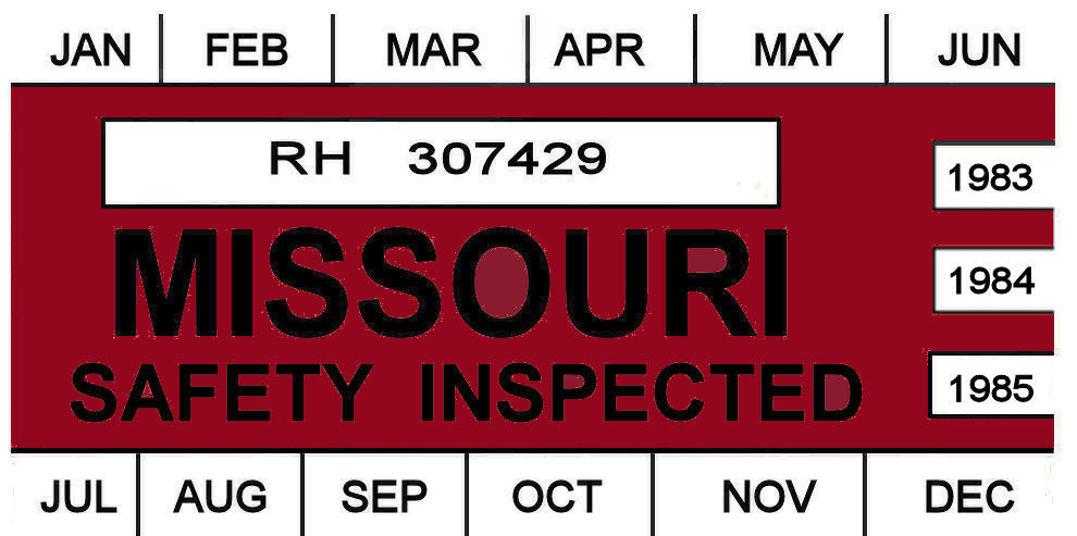 1983 -1985 Missouri inspection sticker
