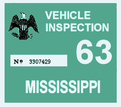 1963 Mississippi Inspection sticker
