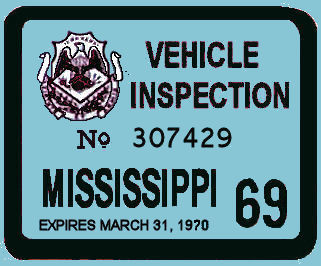 1969 Mississippi inspection sticker