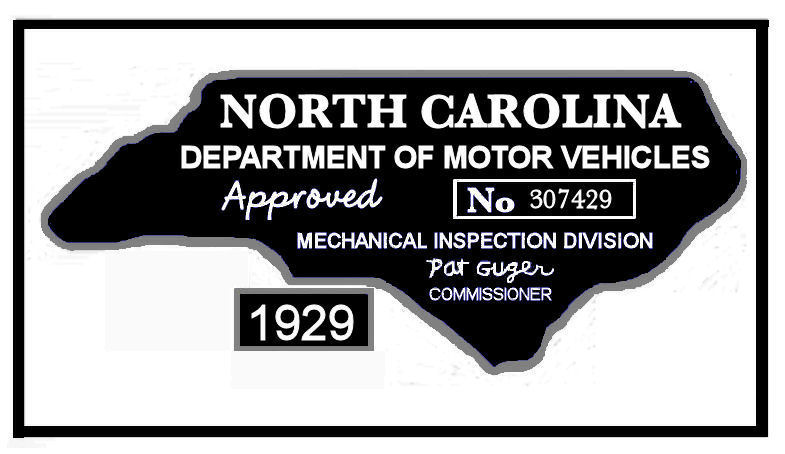 1929 NC Inspection Sticker (Estimate)