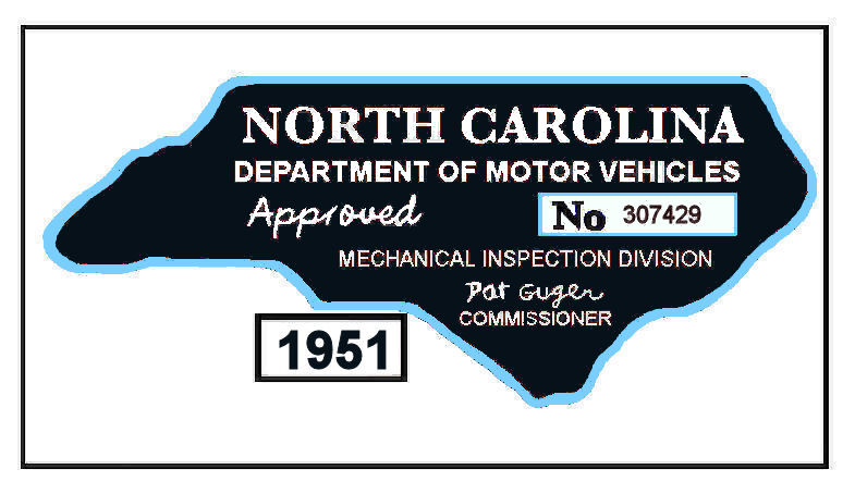 1951 NC Safety Check inspection sticker