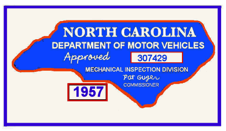 1957 NC Inspection Sticker (Estimate)