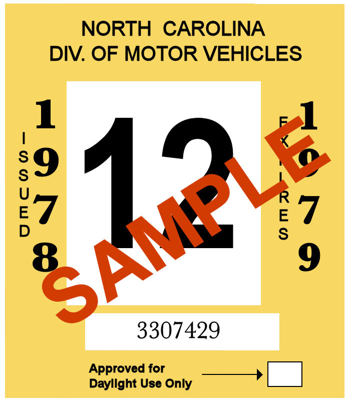 1978-79 North Carolina INSPECTION Sticker