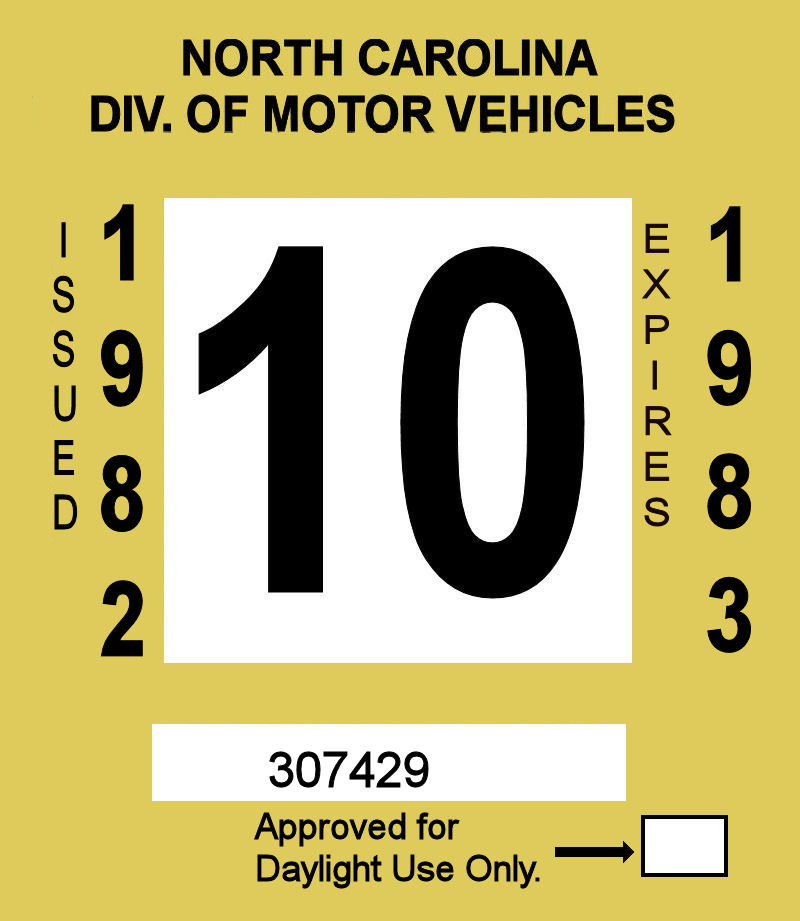 1982-83 North Carolina Inspection Sticker
