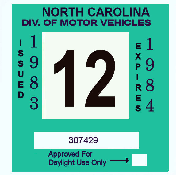 1983-84 North Carolina Inspection Sticker