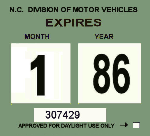 1985-86 North Carolina Inspection sticker