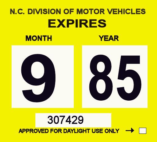 1985 North Carolina INSPECTION Sticker