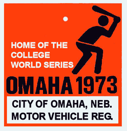 1973 Nebraska REGISTRATION Sticker OMAHA