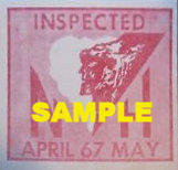 1967 New Hampshire APR - MAY Inspection Sticker