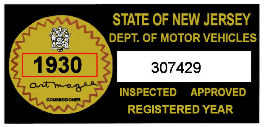 1930 New Jersey Safety Check Inspection Sticker