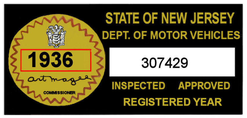 1936 New Jersey Safety Check Inspection Sticker