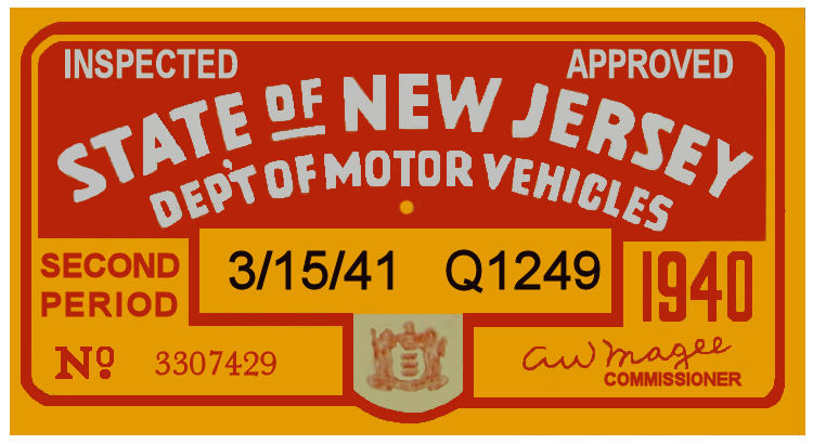1940 2nd Period New Jersey Inspection sticker