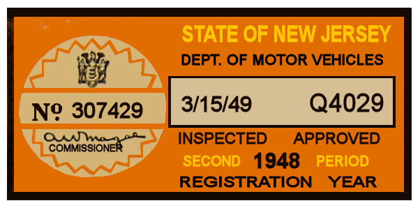 1948 New Jersey 2nd Period Inspection Sticker