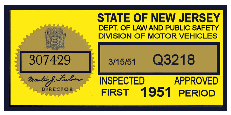 1951 New Jersey 1st Period Inspection Sticker