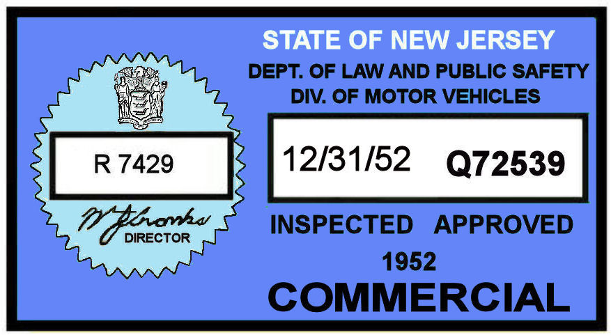 1952 New Jersey COMMERCIAL Inspection Sticker