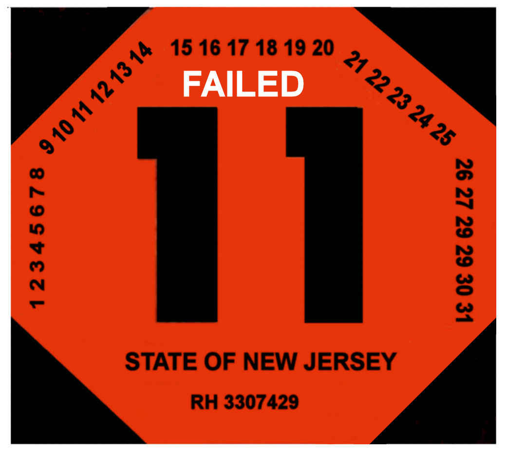 00 New Jersey FAILED rejection sticker 1960s