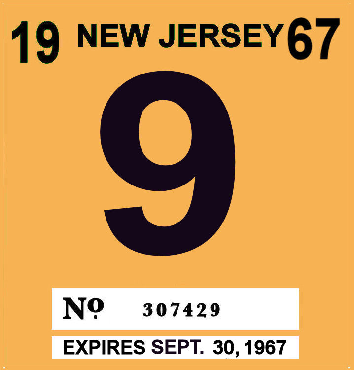 1967 New Jersey INSPECTION Sticker