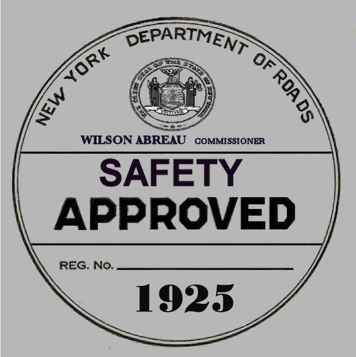 1925 New York Safety Check Inspection