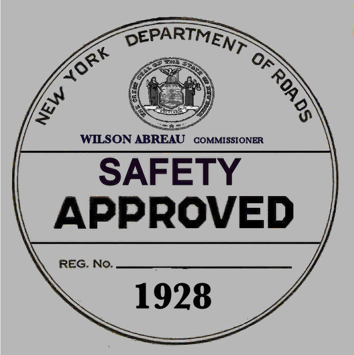 1928 New York Safety Sticker