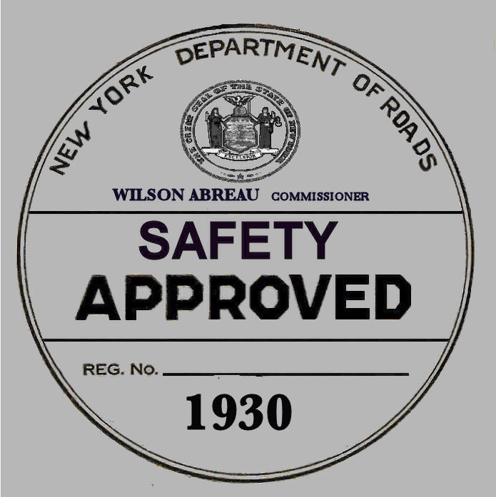 1930 New York Safety Sticker