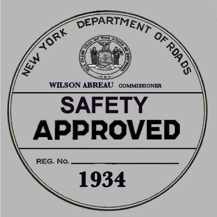 1934 New York Safety Sticker