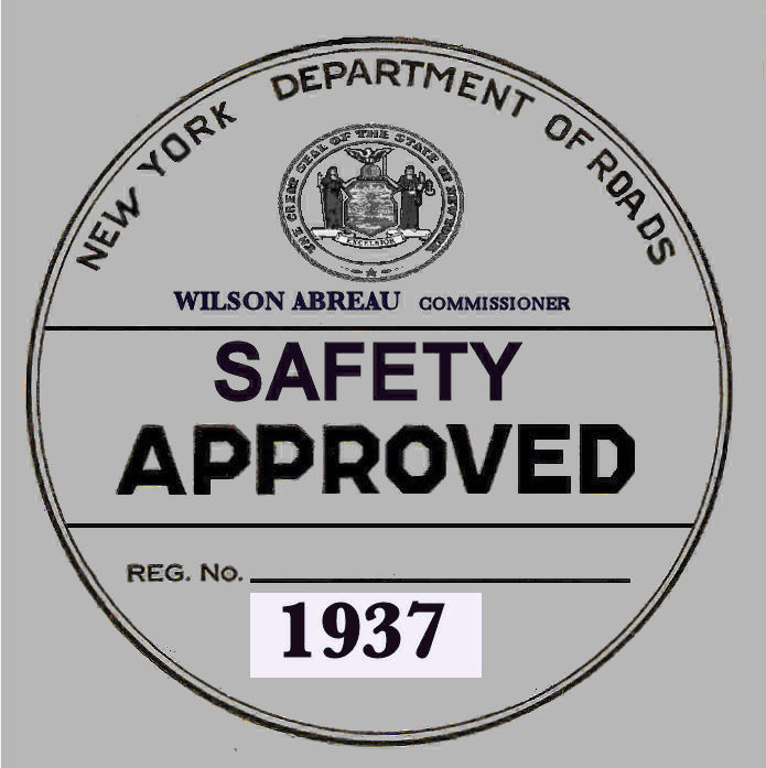 1937 New York Safety Sticker