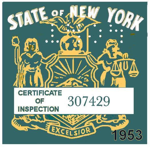 1953 New York INSPECTION Sticker