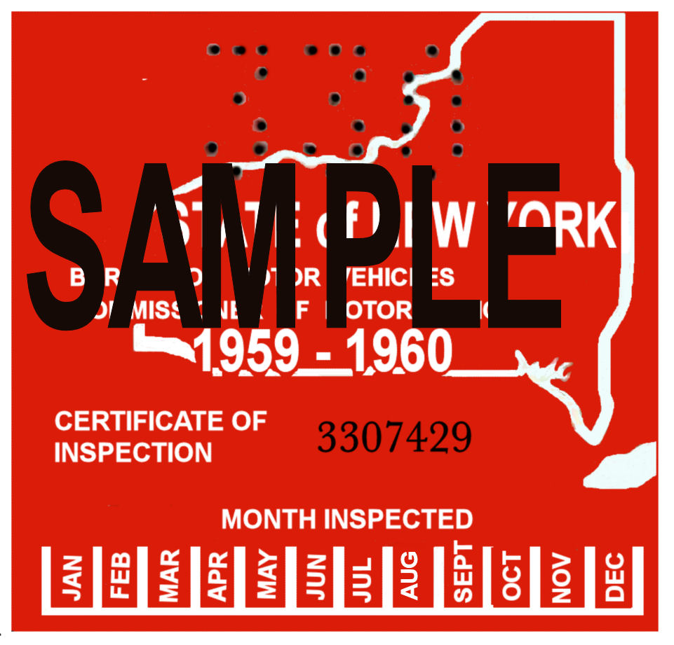 1959-60 New York Inspection Sticker
