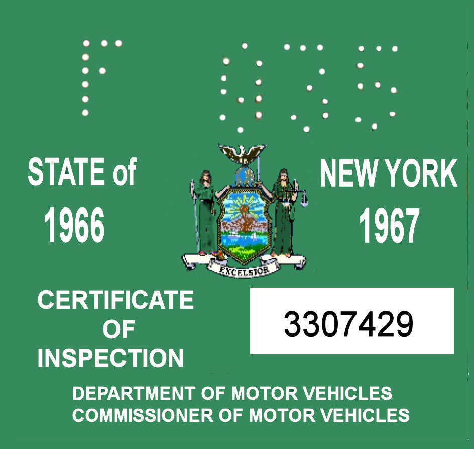 1966-67 New York INSPECTION Sticker