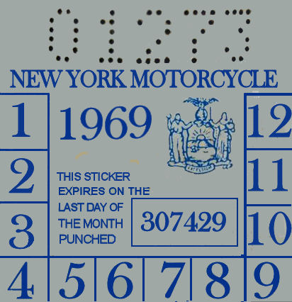 1969 New York inspection sticker Cycle