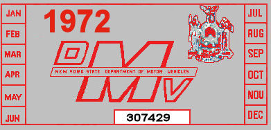 1972 New York Registration sticker