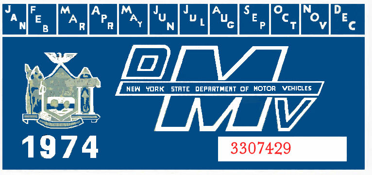 1974 New York REGISTRATION Sticker