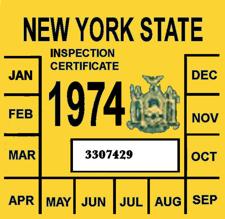 Car inspection sticker nyc 14