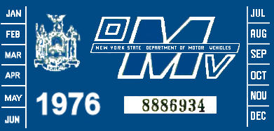 1976 New York REGISTRATION Sticker